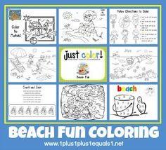 Free Beach Theme Coloring Printables