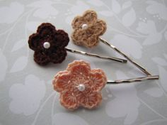 Earthy . bobby pins . crochet flowers . girls hair accessory