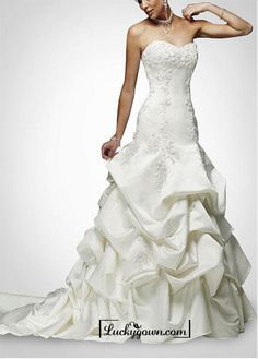 Buy Beautiful Elegant Satin A-line Strapless Wedding Dress In Great Handwork Online Dress Store At LuckyGown.com