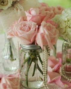 Wedding centerpieces mason jars pink roses 64 ideas for 2019 Bridal Shower Decorations, Wedding Decorations, Table Decorations, Wedding Table, Wedding Day, Gold Wedding, Wedding Centerpieces Mason Jars, Table Centerpieces, Elegant Centerpieces