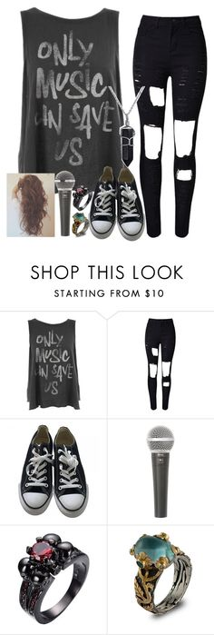 """""""Untitled #1939"""" by tokyoghoul1 ❤ liked on Polyvore featuring Junk Food Clothing, Converse, Galaxy Audio, Emma Chapman and Bling Jewelry"""