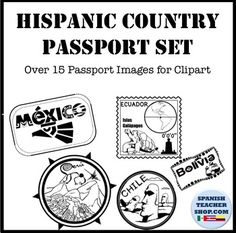 Set of 29 Images to represent passport stamps of all 21 Spanish Speaking Countries plus additional cities and culture.Includes both jpeg and png files. Images are black/white and represent the culture of the country in an authentic way. Includes:ALL 21 Spanish Speaking Countries:Argentina, Bolivia, Cuba, Chile, Colombia (3 versions), Costa Rica, Ecuador, El Salvador, Guinea Ecuatorial, Guatemala, Honduras, La Republica Dominicana, Mexico, Nicaragua, Panama, Paraguay, Peru, Puerto Rico…
