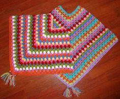 Free Quick Granny Square Patterns | Granny Square Poncho by Le Monde de Sucrette