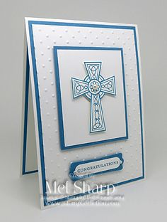 SUO Crosses of Hope by stampinandstuff - Cards and Paper Crafts at… Confirmation Cards, Baptism Cards, Hand Made Greeting Cards, Making Greeting Cards, First Communion Cards, St Patricks Day Cards, Christian Cards, Embossed Cards, Stamping Up Cards