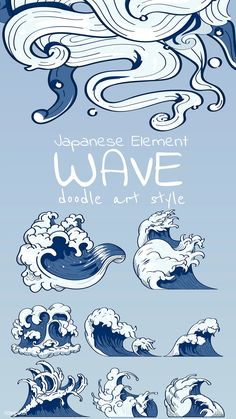 Blue Japanese wave b Japanese Drawings, Japanese Artwork, Japanese Tattoo Art, Wave Drawing, Japanese Waves, Waves Background, Wave Art, Japanese Design, Ocean Waves