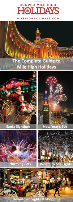 There's no better place for a new family tradition than Mile High Holidays in Denver! Make a night of it and enjoy spectacular light displays, heartwarming holiday shows, shopping in the city and mo. Moving To Colorado, Visit Colorado, Living In Colorado, Colorado Homes, Colorado Country, Colorado Trip, Denver Travel, Visit Denver, High Holidays