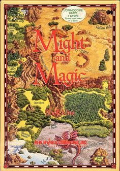 Box art by Jim Krogel, 1986, New World Computing inc.  Debut box art for the long running series. The Tolkein inspired artwork would be followed up by a similar cover also designed by Krogel.