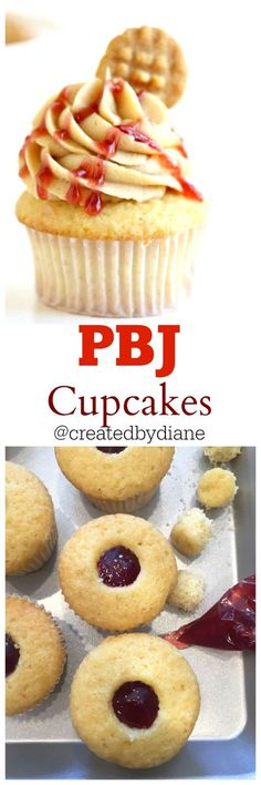 pbj cupcakes these peanut butter and jelly cupcakes are simple to make and enjoyed by all. They are flled with jam and are delicious in every single bite. They could replace a pbj sandwich for back to school if you want! strawberry jelly was used but if Cupcake Flavors, Cupcake Recipes, Baking Recipes, Cupcake Cakes, Dessert Recipes, Dinner Recipes, Köstliche Desserts, Delicious Desserts, Plated Desserts