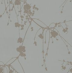 Snowberry Ink (TCW1001-04) - Tapet-Cafe Wallpapers - A delicate and charming design, featuring a trailing Danish snowberry branch. The hand drawn effect creates a tranquil and flower-like feel to this wallpaper,  and the matt background with the metallic finish creates a modern yet classic feel. Shown here in metallic gilver and matt grey.  Please request a sample for a true colour match. Paste the wall product.
