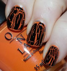 Black and Orange Halloween Nails