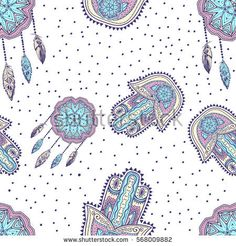 Bohemian pattern with hamsa and dreamcatcher Available at redbubble https://www.redbubble.com/people/milaokie/works/23674583-boho-pattern-with-dreamcatcher-and-hamsa?asc=u