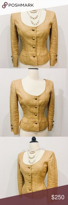 """✨ Valentino Vintage Golden Fitted Linen Blazer Pristine vintage steal! Linen blazer with scoop neck, three quarter sleeves, fitted seams with tonal topstitching throughout. Two welt pockets, still closed. Gold tone buttons. Fully lined. Body 100% Linen Lining 100% Silk Dry Clean Only 34"""" Bust 27"""" Waist 15"""" Shoulder 20"""" Sleeve Length 19"""" Overall Length Made in Italy Valentino Jackets & Coats Blazers"""