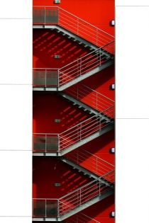 Stair et haut - Eric Forey Stairways, Architecture, Art Direction, Scale, Editorial, Campaign, Colorful, City, Exit Room