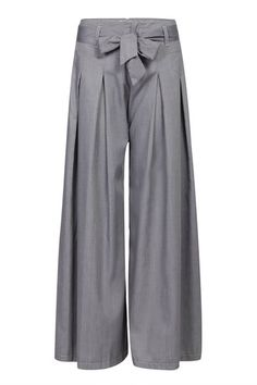 I like that these look low-rise, but that color. :( | Grey Wide Leg Loose Trousers with Belt - US$25.95 -YOINS