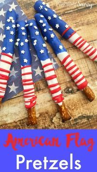 Are you looking for fun patriotic snacks for Fourth of July or Memorial Day? Then you will want to make these cute American Flag pretzels. They are adorable and easy to make with just 5 ingredients and a microwave.Great party recipe.