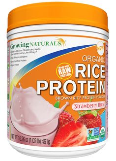 Growing Naturals Rice Protein Isolate Powder Strawberry Burst 1lb Canister http://store.growingnaturals.com/products/rice-protein-isolate-powder-strawberry-burst-1lb-canister/