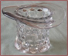 """Fostoria American Glass Top Hat vase - using these for the mothers day tea themed """"hats off to you, mom!"""""""