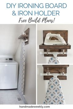 DIY Ironing Board & Iron Holder Free woodworking build plans for a DIY ironing board and iron holder. Can be customized based on iron and ironing board dimensions. Laundry Room Remodel, Laundry Room Organization, Laundry Room Design, Laundry In Bathroom, Laundry Closet, Laundry Drying, Laundry Decor, Laundry Storage, Laundry Detergent Storage