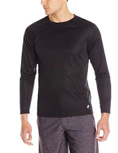 TRUNKS Men's UPF 20  Long Sleeve Swim Tee, Black, Large * This is an Amazon Associate's Pin. Click the VISIT button for detailed description on Amazon website.
