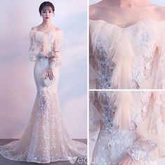 Elegant Champagne Evening Dresses 2018 Trumpet / Mermaid Off-The-Shoulder Long Sleeve Appliques Flower Pearl Sweep Train Ruffle Backless Formal Dresses Source by Dresses Dresses Elegant, Trendy Dresses, Beautiful Dresses, Nice Dresses, Fashion Dresses, Fashion 2018, Fashion Pants, Ball Dresses, Ball Gowns