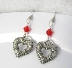 Heart Earrings Silver Heart Earrings Red Heart by BeadBrilliant, $17.00