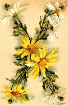 """X"" Vintage Floral Postcard by Catherine Klein"