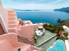 'PINK Cave House' 2-8 Pers Private outdoors HOT TUB with Caldera view!Vacation Rental in Oia  from @HomeAway! #vacation #rental #travel #homeaway