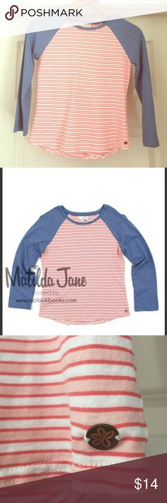 Matilda Jane Clothing At the Ball Park Tee A dressed up baseball tee. A perfect shirt for when your tween girl doesn't want to wear MJC anymore! Great condition. Matilda Jane Clothing Shirts & Tops Tees - Long Sleeve