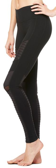 Get these sexy black mesh Alo leggings while you can! Urban motorcycle legend inspired the crisp lines and unique detail of the best-selling Moto Legging. Available at evolvefitwear.com #evolvefitwear #aloyoga #mesh