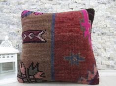 decorative cushion 16x16 rug pillow home decor bolster pillow aztec pillow morocco pillow handmade carpet pillow anatolian rug pillow 16x16
