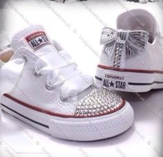 Love these decorated Converse sneakers Converse Star, Baby Converse, Converse Sneakers, Bedazzled Converse, White Converse, Baby Girl Shoes, Girls Shoes, Baby Girls, Baby Boy