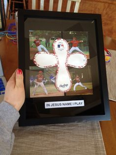 DIY baseball cross shadow box for boyfriend. Valentines day, birthday, anniversary or Christmas. Bf Gifts, Diy Gifts For Boyfriend, Birthday Gifts For Boyfriend, Cute Gifts, Teacher Gifts, Baseball Cross, Baseball Gifts, Baseball Season, Baseball Shadow Boxes