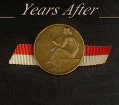Signed Vintage HUGUENIN LOCLE Swiss MEDAL Award Pin Ribbon Bronze Gilt Switzerland DATED 1954! #HUGUENINLOCLE #ReadingBooks