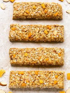 This No-bake, Healthy Fruit and Nut Granola Bars recipe is made with just 6 ingredients. These homemade granola bars are as tasty as they are nutritious! Chocolate Chip Granola Bars, No Bake Granola Bars, Healthy Granola Bars, Healthy Oatmeal Cookies, Chewy Granola Bars, Easy Baking Recipes, Healthy Baking, Biscuits, Healthy Fruits