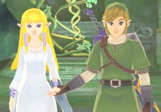 Link & Zelda from The Legend of Zelda: Skyward Sword. This screenshot always reminds me how pretty the game looks thanks to the art style and colors used.