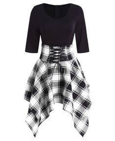 fashion dresses Women Lace Up Plaid Asymmetrical Dress O-Neck Description Occasion: Daily Style: Casual Material: Cotton,Polyester Silhouette: Asymmetrical Dresses Length: Knee-L Teen Fashion Outfits, Edgy Outfits, Cute Casual Outfits, Cute Fashion, Womens Fashion, Fashion Site, Dress Casual, Dress Fashion, Fashion Stores