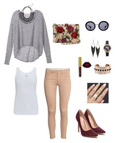 """""""Sem título #32"""" by divadolook ❤ liked on Polyvore featuring Victoria's Secret, Majestic, H&M, Dolce&Gabbana, Miu Miu, GUESS and Olivia Burton"""