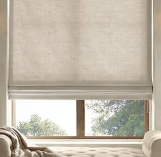 Brushed Belgian Linen Cotton Flat Roman Shade - Shown in sand with privacy lining
