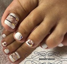 Looking for new and creative toe nail designs? Let your pedi always look perfect. We have a collection of wonderful designs for your toe nails that will be appr Pretty Toe Nails, Cute Toe Nails, My Nails, Toe Nail Color, Toe Nail Art, Nail Colors, Nail Nail, Nail Glue, Acrylic Nails