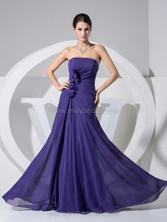 Sheath/Column Strapless Chiffon Floor-length Ruffles Prom Dresses