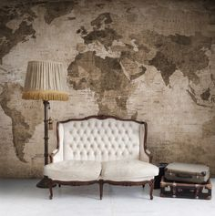 World Map, brown wall murals - wallpaper | Rebel Walls