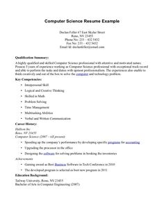 Computer Science Resume Templates We Provide As Reference To Make Correct  And Good Quality Resume.