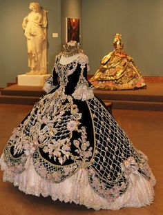 Linda Leyendecker Gutierrez designs these elaborate hand-beaded gowns for the annual Society of Martha Washington colonial ball held in Laredo Texas every year