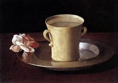 Francisco de Zurbaran - Cup of Water and a Rose on a Silver Plate, c. Oil on canvas, x cm, National Gallery, London Canvas Art Prints, Canvas Wall Art, Oil On Canvas, Caravaggio, Henri Matisse, Francisco Zurbaran, National Gallery, Art Watercolor, Most Famous Paintings