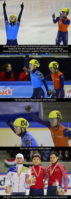 STRANGE SPORTS BEHAVIOR - NASTY DUTCH SPEED SKATER FLASHES THE FINGER TO WINNER FROM RUSSIA - AFTER NEWS REPORTER SHOW REACTION, DUTCH SKATER DISQUALIFIED! - FUN 4 PICTURE SERIES