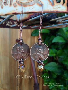1966 Penny Earrings. Wire wrapped coins, coin jewelry, 50 year old, antique jewelry.