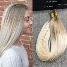 """Ombre Remy Dip Dye Stick tip, i tip micro ring human hair extensions 16"""" 18"""" 20"""" #FullShine #stickitipsforusewithmicrobeads"""