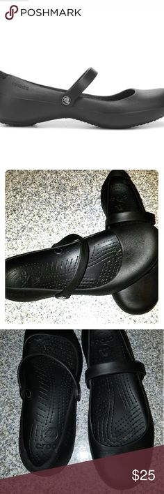 e35c8c59f2ddee CROCS Women s Alice Mary Jane Work Shoes Black Pre Owned Excellent  Condition w 10 CROCS Shoes