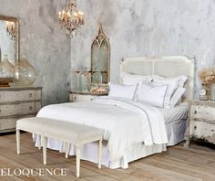 Eloquence Blanka Cane Headboard Antique White. #FrenchGardenHouse