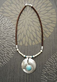 Turquoise Bib Necklace with a Sterling Silver & by KRAMIKE on Etsy